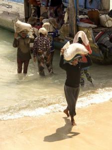 Unloading the Public Boat on Nusa Lembongan