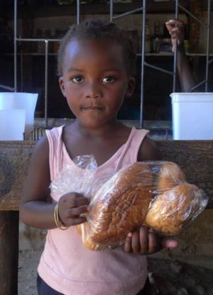 Windhoek Township Girl With Bread