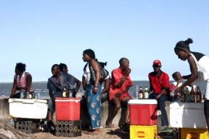 Sunday afternoon beer sales at Costa del Sol Maputo