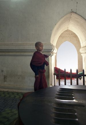 Child Monk at Ananda Temple  Bagan  Myanmar