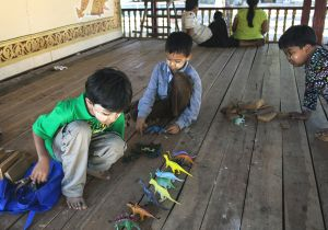 Small Boys With Dinosaurs  Ananda Temple  Bagan  Myanmar