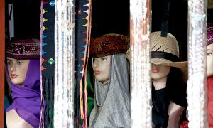 Muslim Models in a Shop Window