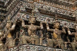 Ancient Artwork on The Temple of Dawn Bangkok