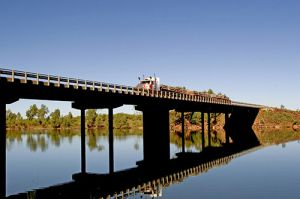 Road Train Reflection on a Bridge at Macksville