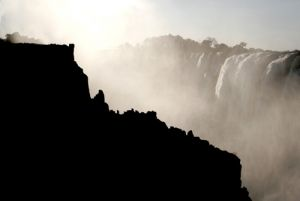 Victoria Falls Black And White Contrast