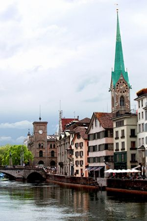 River Limmat and Fraumunster in Zurich