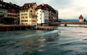 Reuss River at Dusk Lucerne