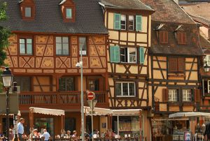 Crooked Medieval Houses in the CVentre of Colmar.