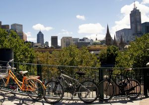 Cycles Overlooking the Yarra River