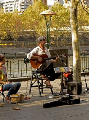 French Busker South Bank  Melbourne