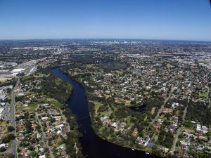Aerial View of Swan River Perth City