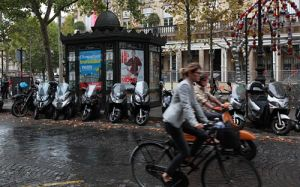 Paris Cyclists in the Rain
