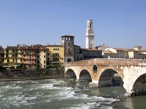 Adige River Flows Through the City of Verona