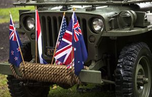 ANZAC Jeep With Australian Flags